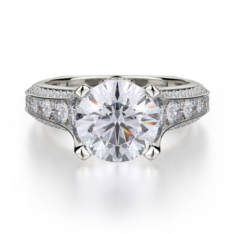 Michael M STRADA 18K White Gold Engagement Ring R656-2