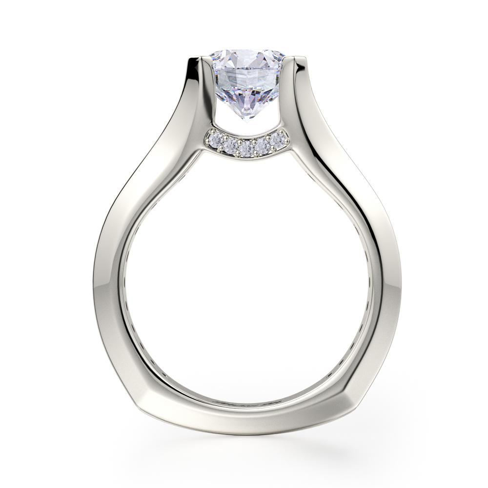 Michael M STRADA 18K White Gold Round Center Engagement Ring R687-2