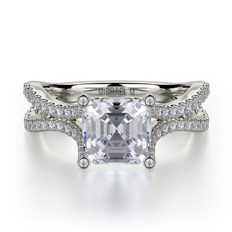 Michael M Asscher Shaped Center Diamond Engagement Ring R725-2