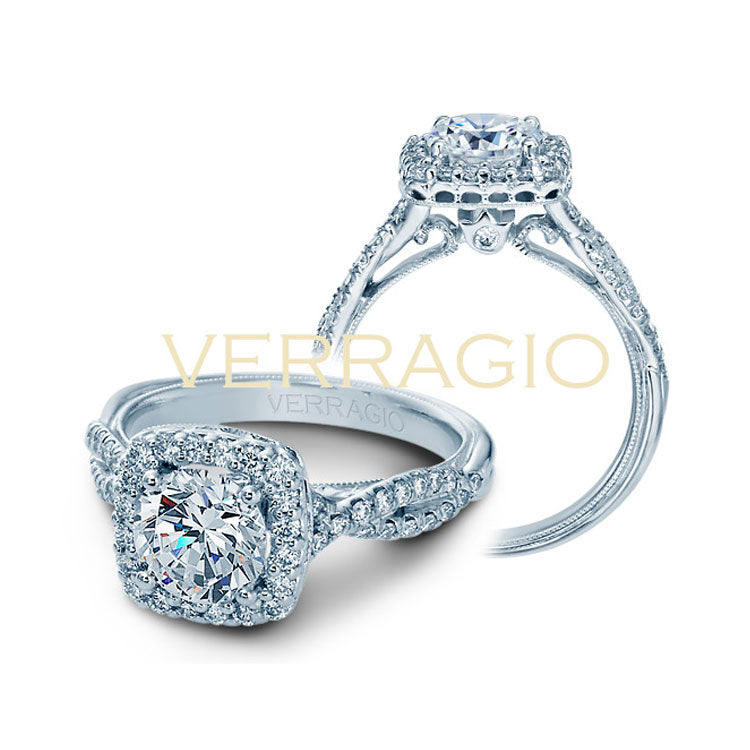 Verragio 14K White Gold Round Diamond Center Halo Engagement Ring Renaissance-918CU7