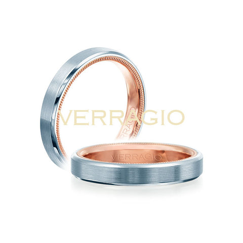 Verragio 14K White & Rose Gold Men's Wedding Band VW-4002