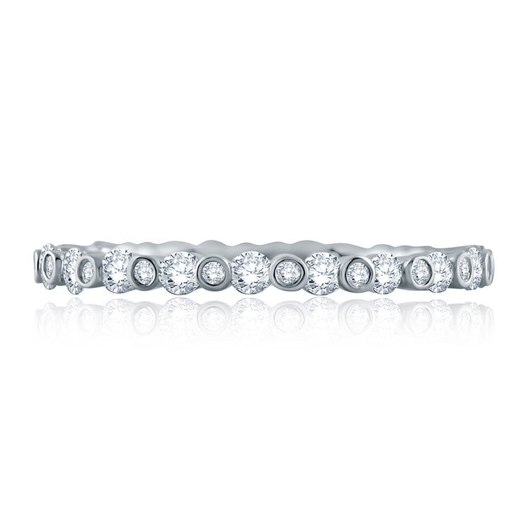 A.JAFFE 14K White Gold Alternating Bezel Set Stackable Diamond Ladies Wedding Band WR1048/63