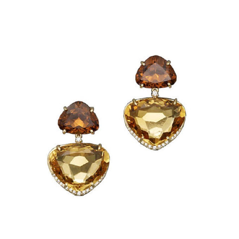 Vianna Brasil 18K Yellow Gold Citrine and Diamond Accents Earrings YA1210CIT.E2