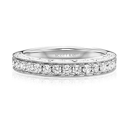 Scott Kay Dream 19K White Gold Diamond Wedding Band B1860R310