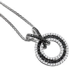 Sandra Biachi 14K White Gold Black & White Diamond Pendant BK1521