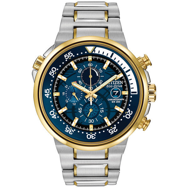 Citizen Endeavor Two Tone Chronograph Eco-Drive Men's Watch CA0444-50L