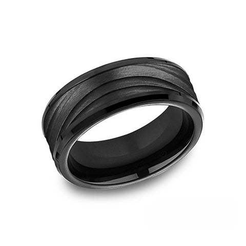 Benchmark Comfort-Fit Black Titanium 8mm Men's Wedding Band CF108760BKT