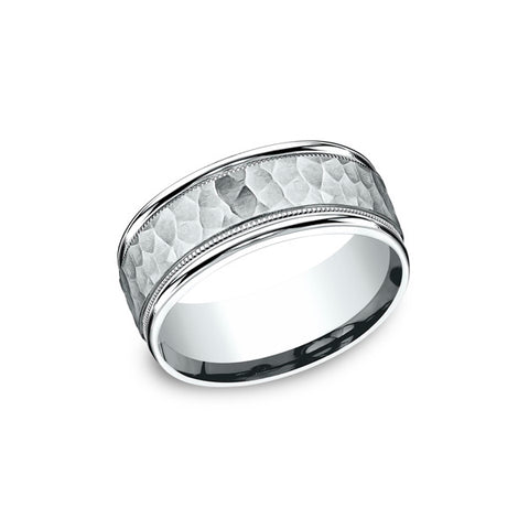Benchmark Comfort-Fit Hammered-finished Center Milgrain Carved Design band CF158309