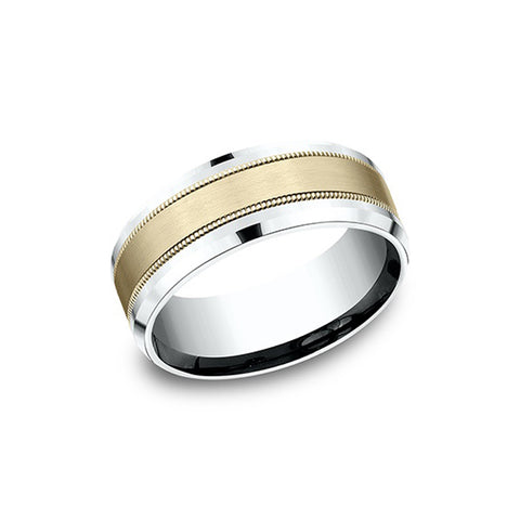 Benchmark Comfort-Fit 14K White & Yellow Gold 8mm Men's Wedding Band CF208013S