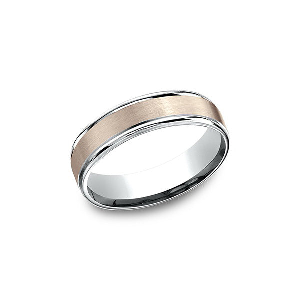Benchmark Comfort-Fit Two-Tone 6MM Men's Wedding Band CF62602S