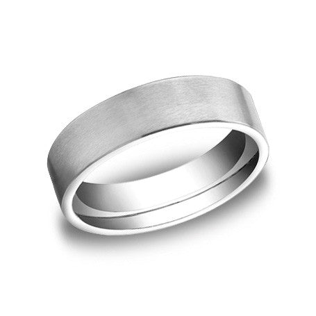 Benchmark 14K White Gold Satin-finished Men's Wedding Band CF66420