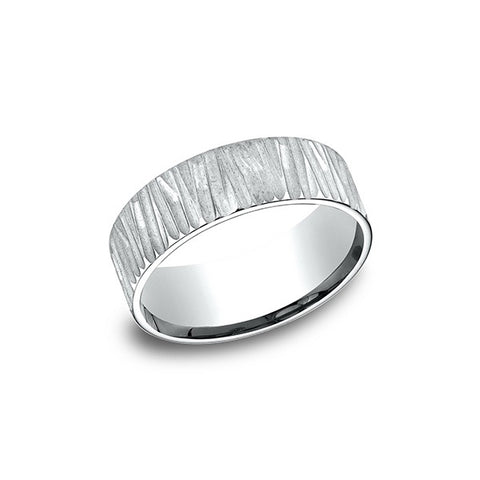 Benchmark Comfort-Fit 14K White Gold 8MM Men's Wedding Band CF68328