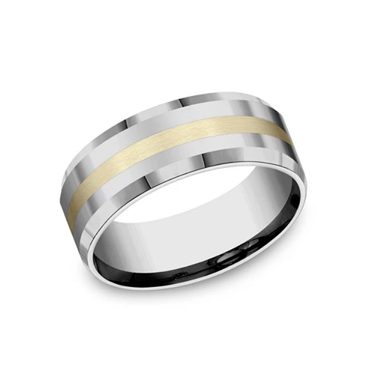Benchmark Forge Comfort-Fit 8mm Tungsten & Yellow Gold Men's Wedding Band CF6842618KYTG