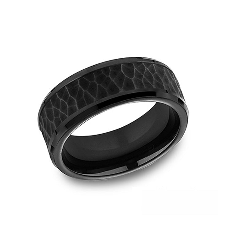 Benchmark Comfort-Fit Black Titanium 8mm Men's Wedding Band CF68985