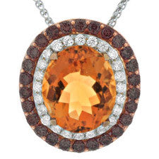 Sandra Biachi 14K Yellow Gold Citrine Diamond Pendant CH1501