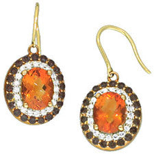 Sandra Biachi 14K Yellow Gold Oval Citrine Earrings CH1901