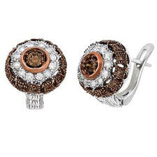 Sandra Biachi 14K White Gold Classic Huggie Cafe Diamond Earrings CH956
