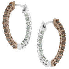 Sandra Biachi 14K White Gold White & Cafe Diamond Hoop Earrings CH973