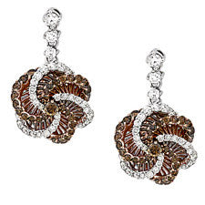 Sandra Biachi 14K White Gold Cafe & White Diamond Earrings CH980