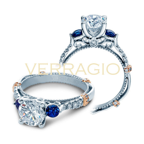 Verragio 14K White Gold Three-Stone Engagement Ring PARISIAN-CL-DL124R