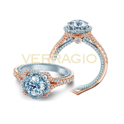 Verragio 18K White & Rose Gold Engagement Ring COUTURE-0444-2RW