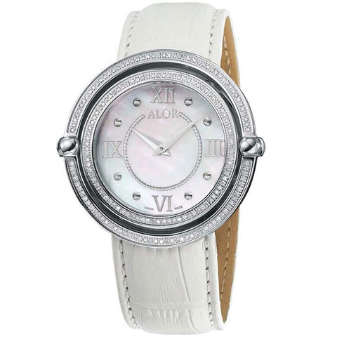 ALOR Women's 43mm MOP Dial Leather Strap Diamond Watch DBS-82-3-98-2001