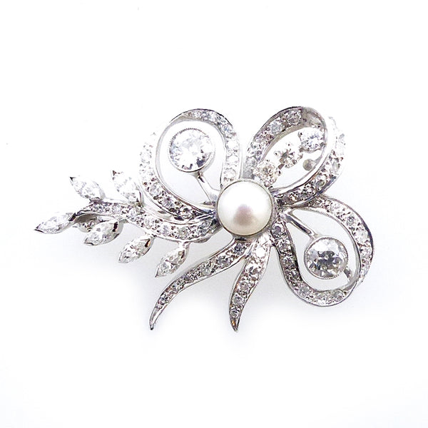 Vintage 14K White Gold Pearl Diamond Pin