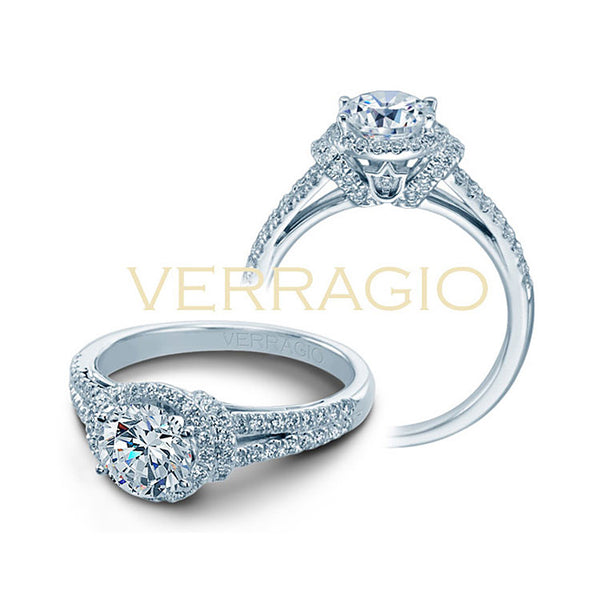 Verragio 18K White Gold Round Center Diamond Engagement Ring COUTURE-0381