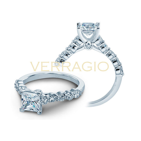 Verragio 18K White Gold Princess Diamond Engagement Ring COUTURE-0410MP