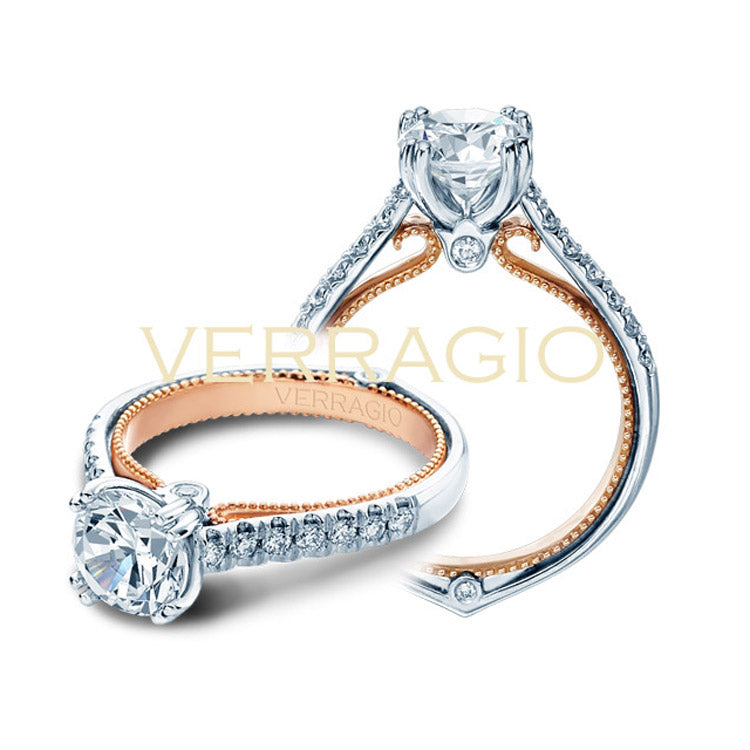 Verragio 18K White & Rose Gold Diamond Engagement Ring COUTURE-0417R-TT