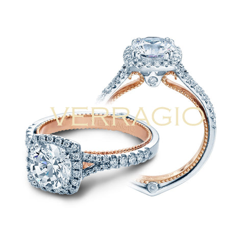 Verragio 18K Two Tone Cushion Halo Diamond Engagement Ring COUTURE-0424CU-TT