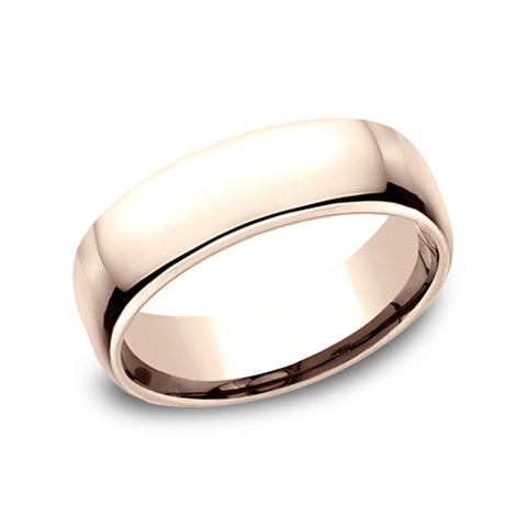 Benchmark 14K Rose Gold Euro-Dome Comfort-Fit Classic 6.5mm Men's Wedding Band EUCF165