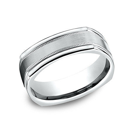 Benchmark Men's 14K White Gold 4 Sided Design Wedding Band EURECF7701S