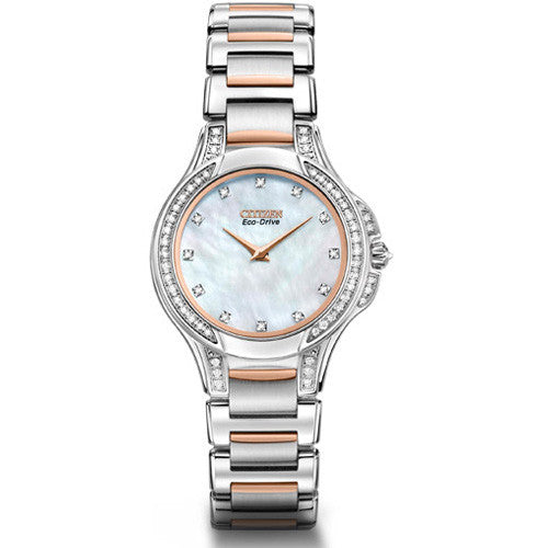 Citizen Signature Fiore Women's Two Tone Mother of Pearl Diamond Watch EX1166-52D