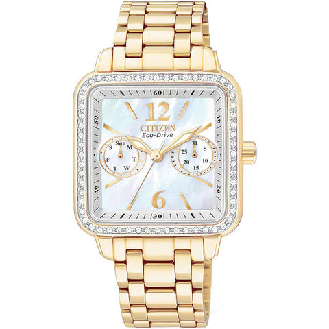 Citizen Silhouette Crystal Yellow Gold-Plated Mother of Pearl Women's Watch FD1042-57D
