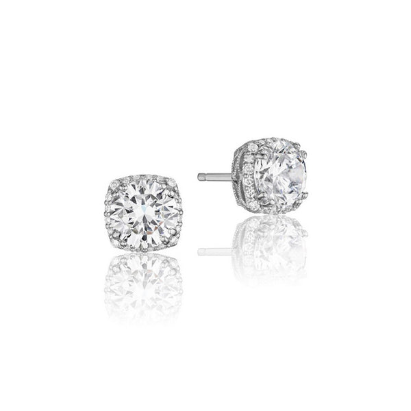 Tacori Encore 18K White Gold Diamond Stud Earrings FE6438