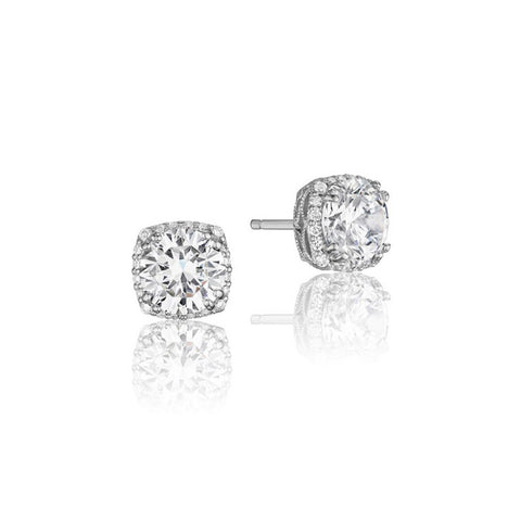 Tacori Encore 18K White Gold Diamond Stud Earrings FE6436
