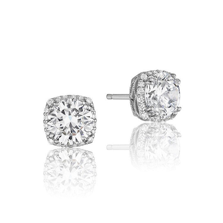Tacori Encore 18K White Gold Diamond Stud Earrings FE64355