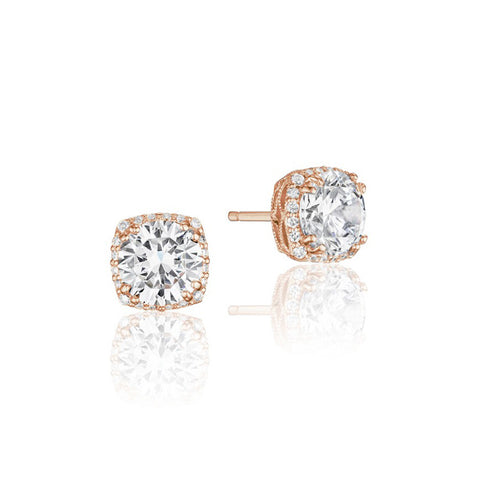Tacori Encore Dantela 18K Rose Gold Diamond Stud Earrings FE64365PK