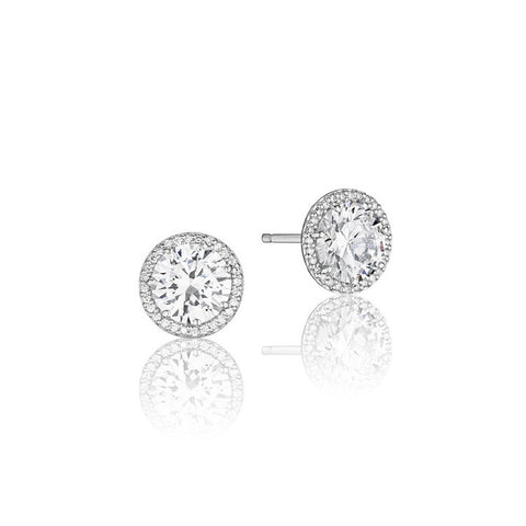 Tacori Encore 18K White Gold Diamond Stud Earrings FE6707