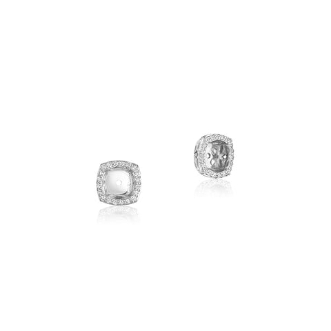 Tacori 18K White Gold Cushion Diamond Earrings Jacket, 6.5MM, FE806CU65