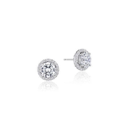 18K White Gold Diamond Stud Earrings Jacket, 7.5MM, FE808RD75