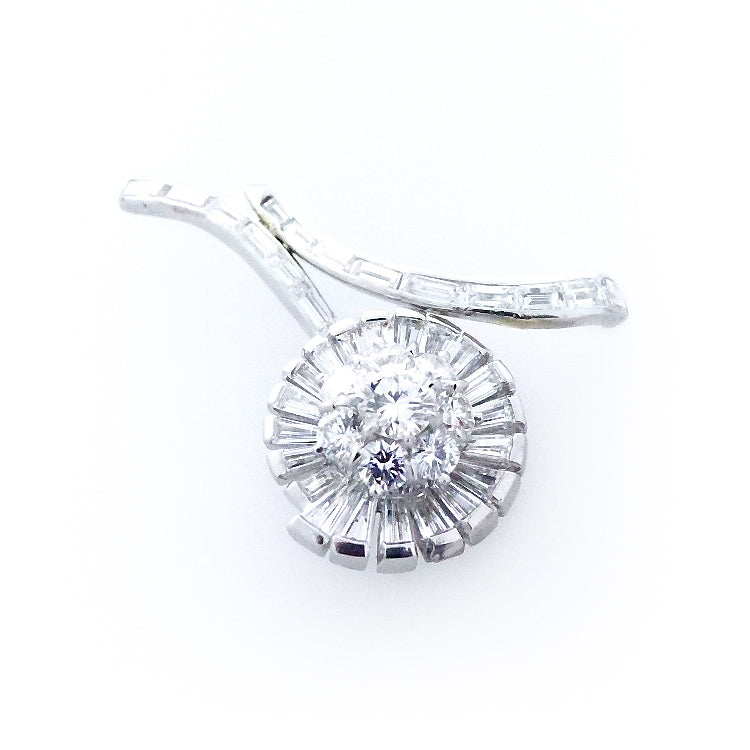14K White Gold Diamond Flower Pin Brooch