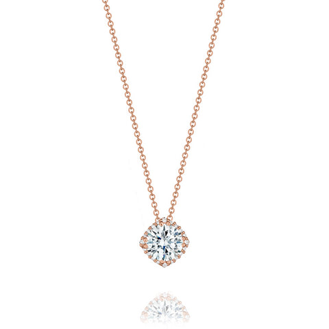 "Tacori 18K Rose Gold 18"" Diamond Pendant Necklace FP64355PK"