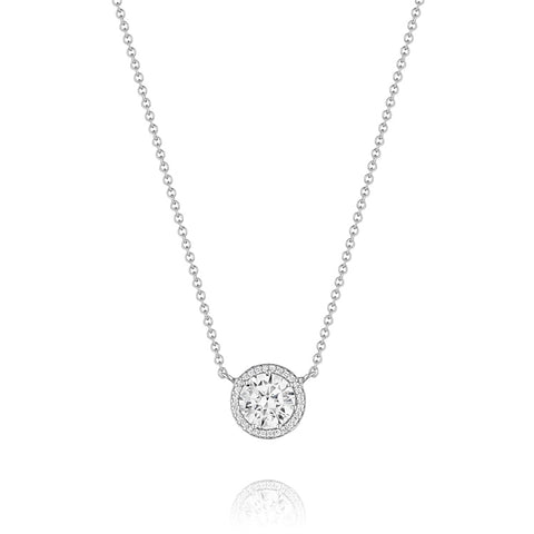 "Tacori Encore 18K White Gold 16"" Round Center Diamond Stud Pendant FP67075"