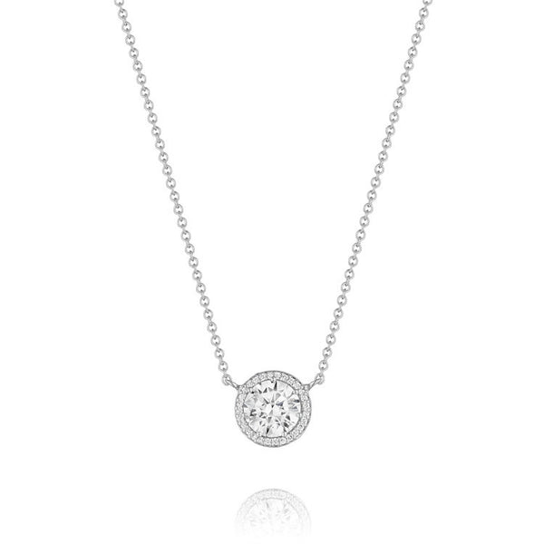 Tacori Encore 18K White Gold Round Center Diamond Stud Pendant FP6706