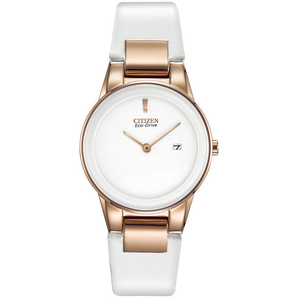 Citizen Axiom Rose Gold Steel on Leather Women's Watch GA1053-01A