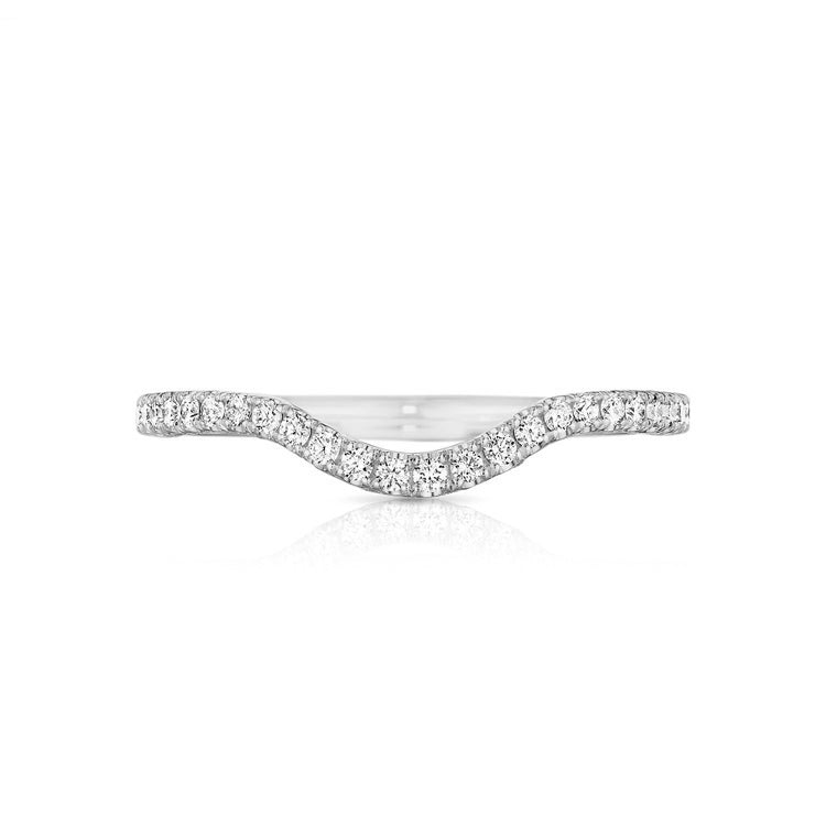 "Tacori Petite Crescent Platinum Diamond ""RIGHT"" Curved Wedding Band HT2561B1/2R"