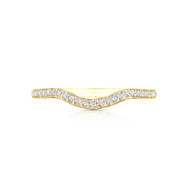 "Tacori Classic Crescent 18K Yellow Gold ""LEFT"" Curved 1/2 Way Solid Band HT2562B12YL"
