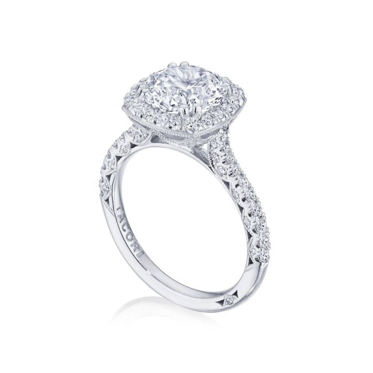 Tacori Petite Crescent Platinum Diamond Engagement Ring HT2571CU8